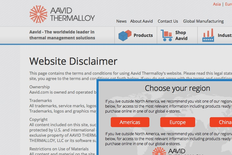 Screenshot of Aavid Website Disclaimer