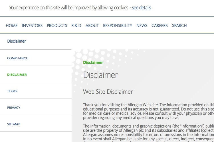 Screenshot of Allergan Web Disclaimer
