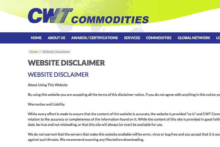 Screenshot of CWT Commodities Website Disclaimer