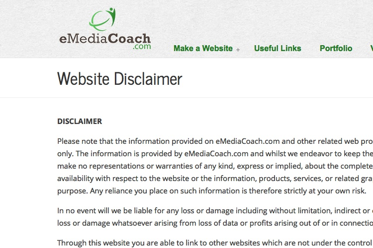 Screenshot of eMediaCoach Website Disclaimer Website