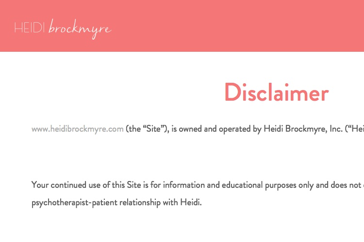 Screenshot of Heidi Brockmyre Website Disclaimer