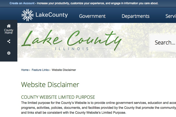 Screenshot of Lake County Website Disclaimer