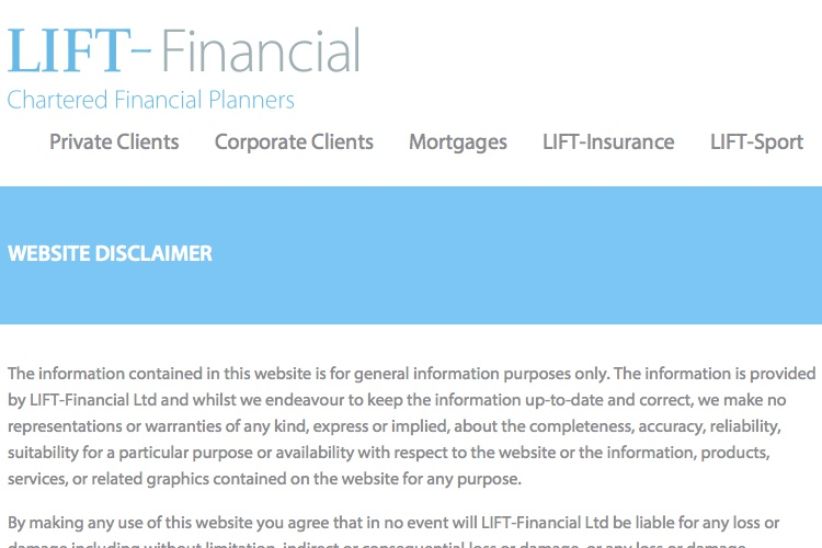 Screenshot of LIFT-Financial Website Disclaimer