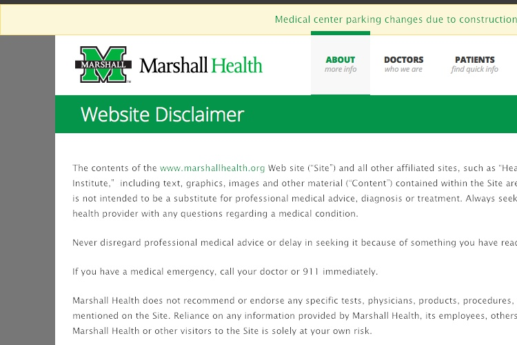 Screenshot of Marshall Street Website Disclaimer