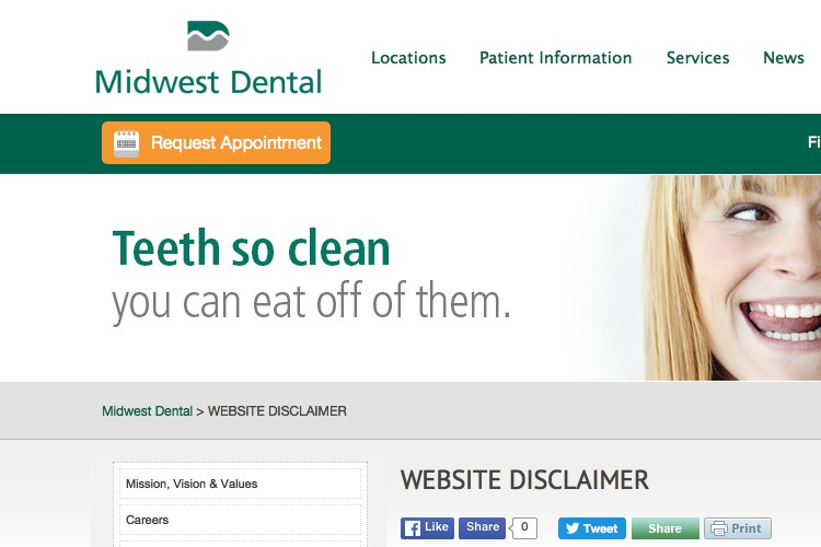 Screenshot of Midwest Dental Website Disclaimer
