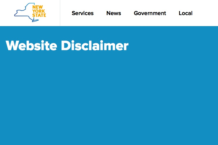 Screenshot of New York State Website Disclaimer of