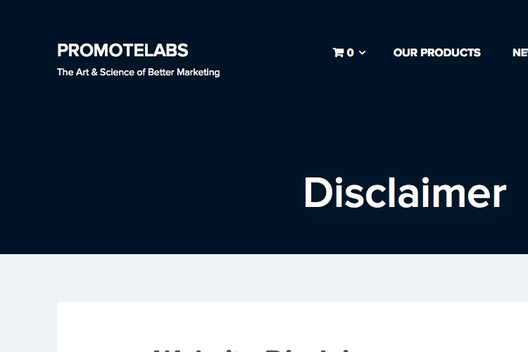 Screenshot of PromoteLabs Disclaimer