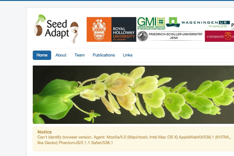 Screenshot of SeedAdapt and Website Disclaimer