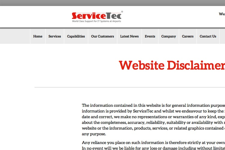 Screenshot of ServiceTec Website Disclaimer