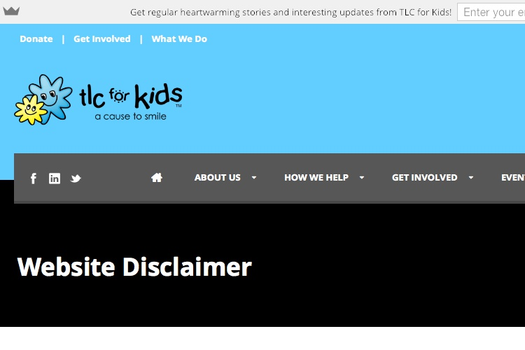 Screenshot of TLC for Kids Website Disclaimer