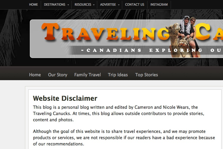 Screenshot of Traveling Canucks Website Disclaimer