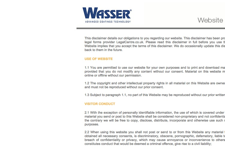 Screenshot of Wasser Website Disclaimer